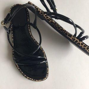 Zara SZ38 black patent + leopard sandals